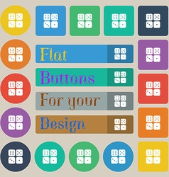 Dices icon sign set of twenty colored flat round vector
