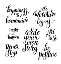 set of handwritten positive inspirational quotes vector image