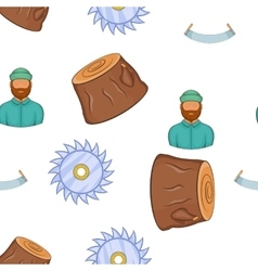 Lumberjack equipment pattern cartoon style vector