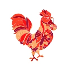 Rooster colorful red fill silhouette cock animal vector