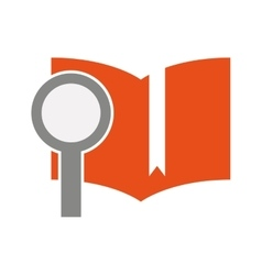 Text book with magnifying glass isolated icon vector
