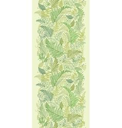 Green fern leaves vertical seamless pattern border vector