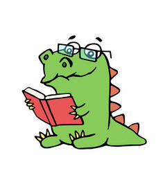 Funny dinosaur sits and reads a book vector