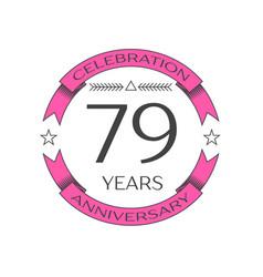 Seventy nine years anniversary celebration logo vector