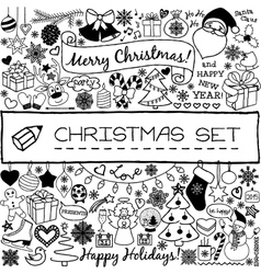 Doodle christmas season icons vector