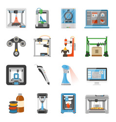 3d printing icons set vector