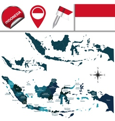 Indonesian map with named divisions vector