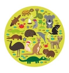 Animals Australia Echidna Platypus ostrich Emu vector image