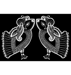 Black and white peacock decorative ethnic drawing vector