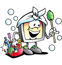 Cartoon of a Happy Screen or Monitor Cleaner vector image