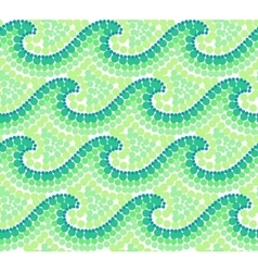 Green dotted waves seamless pattern in australian vector