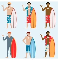 Set of surfers vector