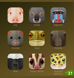 animal faces for app icons-set 21 vector image