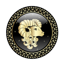 Aries zodiac sign in circle frame vector