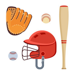 Baseball equipment icons vector