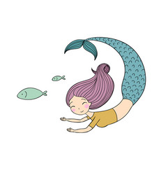 Beautiful little mermaid and fish siren vector