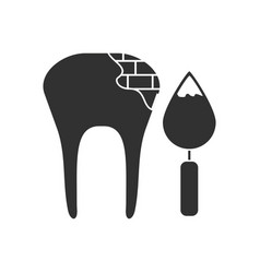 Black icon on white background tooth with tool vector