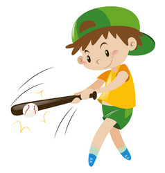 boy hitting ball with wooden bat vector image