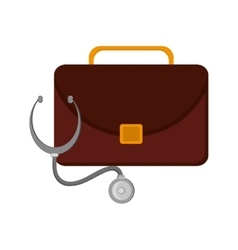 Briefcase and stethoscope icon vector