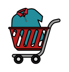 Cart shopping with shirt isolated icon vector