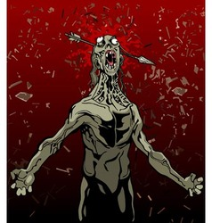 cartoon screaming zombie with an arrow in the head vector image vector image