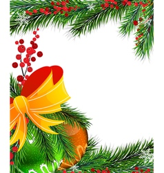 Christmas tree decorations with orange bow vector