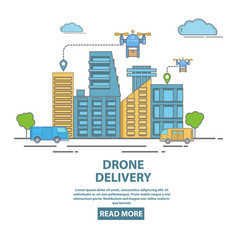 City drone delivery in flat vector
