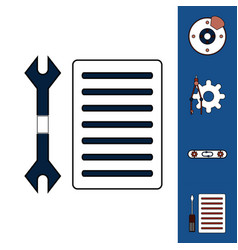 Collection of icons and car service tools vector
