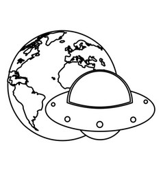 Earth world ufo image outline vector