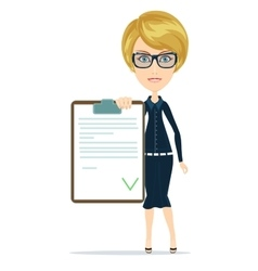 Funny businesswoman with checklist vector