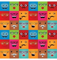 Funny hipster monster faces seamless background vector