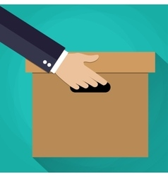 Hand carrying a cardboard box vector image vector image