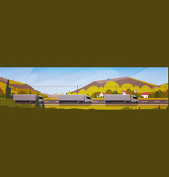 horizontal banner with line of cargo truck vector image