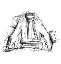 Lion sculpture is at gate at mycenae vintage vector