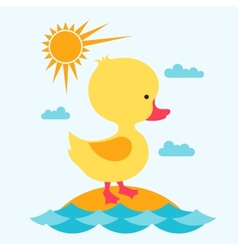 Little cute baby duck at sea vector