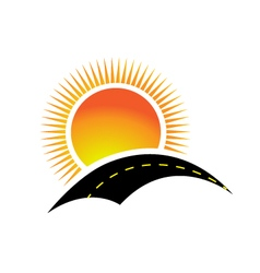 Logo sun and road vector image vector image