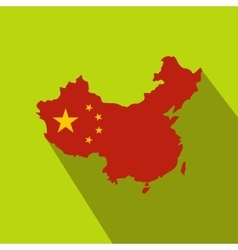 Map of china with national flag icon flat style vector