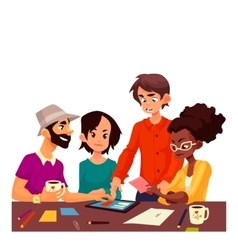 Multiethnic group of young creative people vector