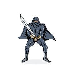 Ninja with sword vector