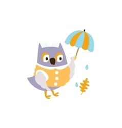 Owl in jacket with umbrella under rain in autumn vector