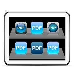 PDF blue app icons vector image vector image