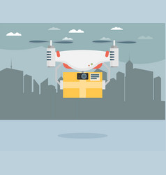 Remote air drone with a box in the city flat vector