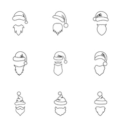 Santa Claus icons set outline style vector image