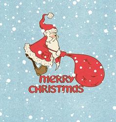 Santa claus pulling big sack vector