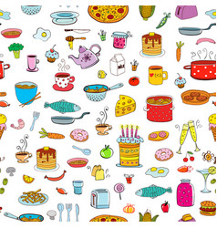 Seamless background meal and ware in doodle style vector