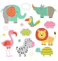 set of isolated baby jungle animals part 2 vector image vector image