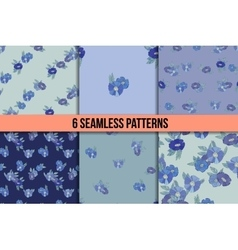 Set of six seamless patterns with blue flowers vector