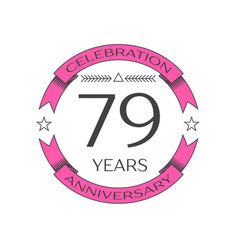 Seventy nine years anniversary celebration logo vector