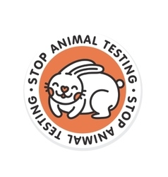 Stop animal testing rabbit isolated badge vector