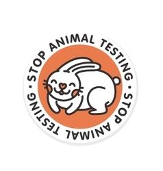 Stop animal testing rabbit isolated badge vector